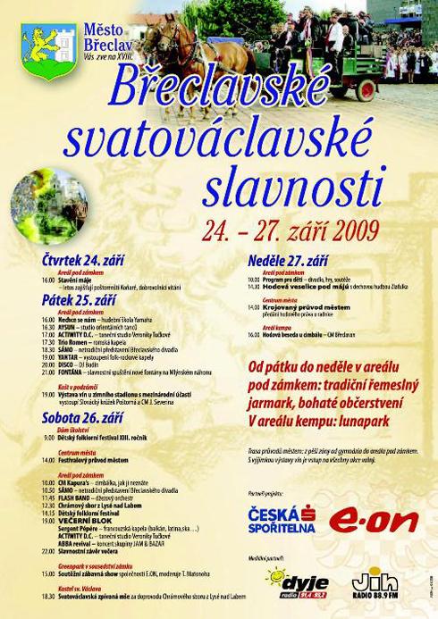 Srdečně vás zvu na čtyřdenní Břeclavské svatováclavské slavnosti 2009 v podzámčí